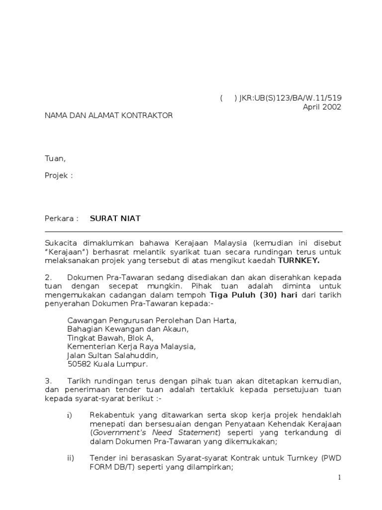 Contoh Surat Niat 1