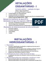 AULA 1 INSTALAÇÕES HIDRO-SANITÁRIAS  I