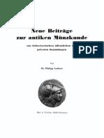 Neue Beiträge zur antiken Münzkunde aus schweizerischen öffentlichen und privaten Sammlungen. [I] / von Phillip Lederer