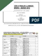 Cronograma Finales Febrero 2012 - Trabajo Social UNLa