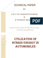 Utilization of Hybrid Energy in Automobiles