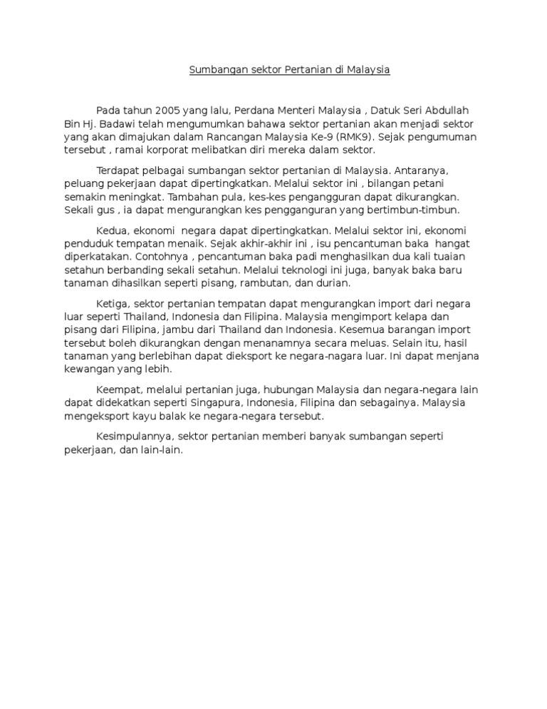 Sumbangan Sektor Pertanian Di Malaysia