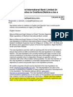 Stanford International Bank Limited (in Liquidation) - Notice to Creditors June 1, 2011