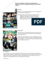 Music Genre's, Similar Magazines and General Magazine Ideas