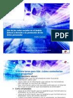 Uso de las redes sociales en el ámbito laboral y derecho a la protección de los datos personales (Universidad Blas Pascal, Cordoba, Argentina - 15 Oct. 2010)