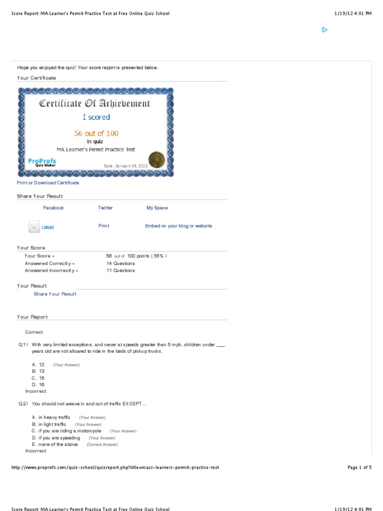 Ma Learner S Permit Practice Test