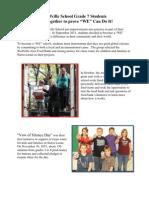 Grade 7 `WE` Initiatives Fall 2011