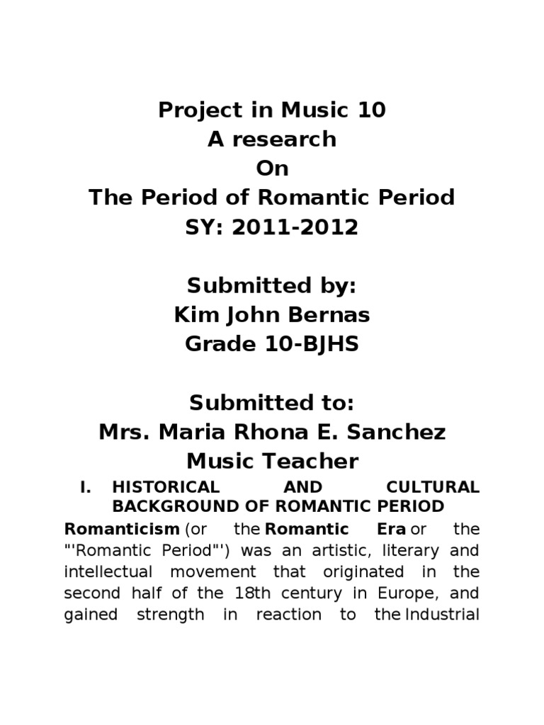 the music of the romantic period is all about what
