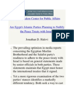 Are Egypt's Islamic Parties Planning to Nullify the Peace Treaty with Israel?
