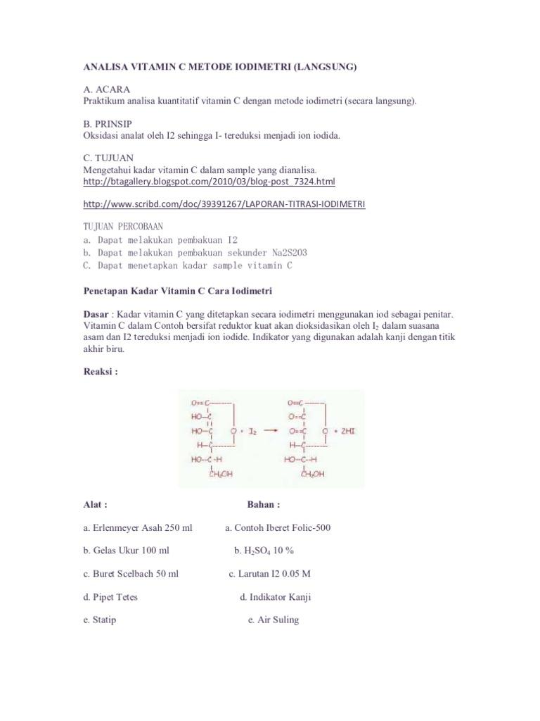 10 Besar Pollo Graph Jurnal Penentuan Kadar Vitamin C Dengan Titrasi Iodimetri Pdf