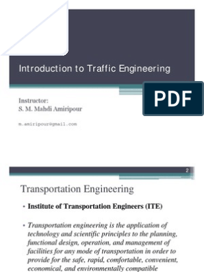 Elements of Traffic Engineering Lecture 1- Introduction to Traffic