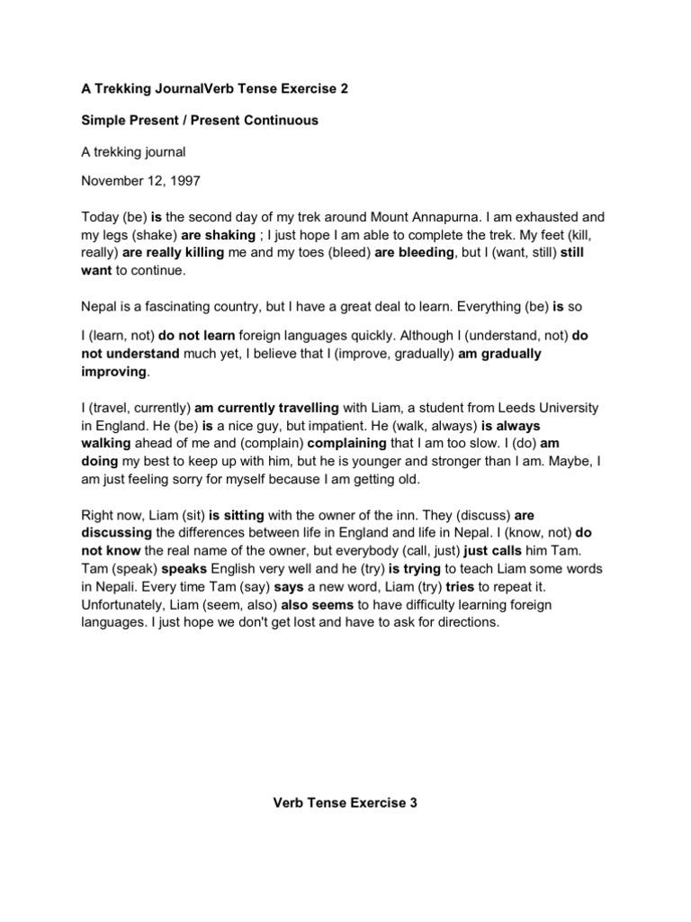 A Trekking Journal Verb Tense Exercise 2 Verb