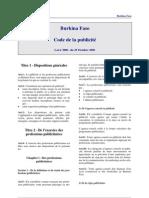 Burkina Faso Code de la Publicité