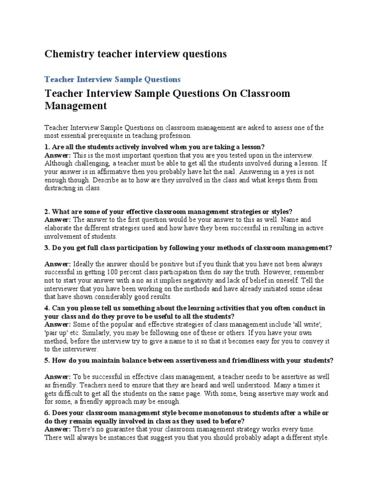 chemistry teacher interview questions teachers interview