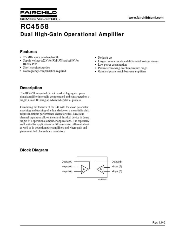 Rc4558 Dual High Gain Operational Amplifier Power Supply Universal Op Amp Circuit Diagram Amplifiercircuit