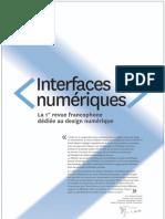 Dossier de presse de la revue Interfaces Numériques