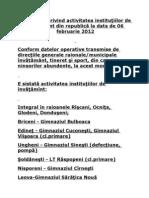 Informaţii privind activitatea instituţiilor