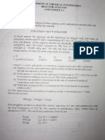 Chemical Engg Reactor Analysis, Assignment 1