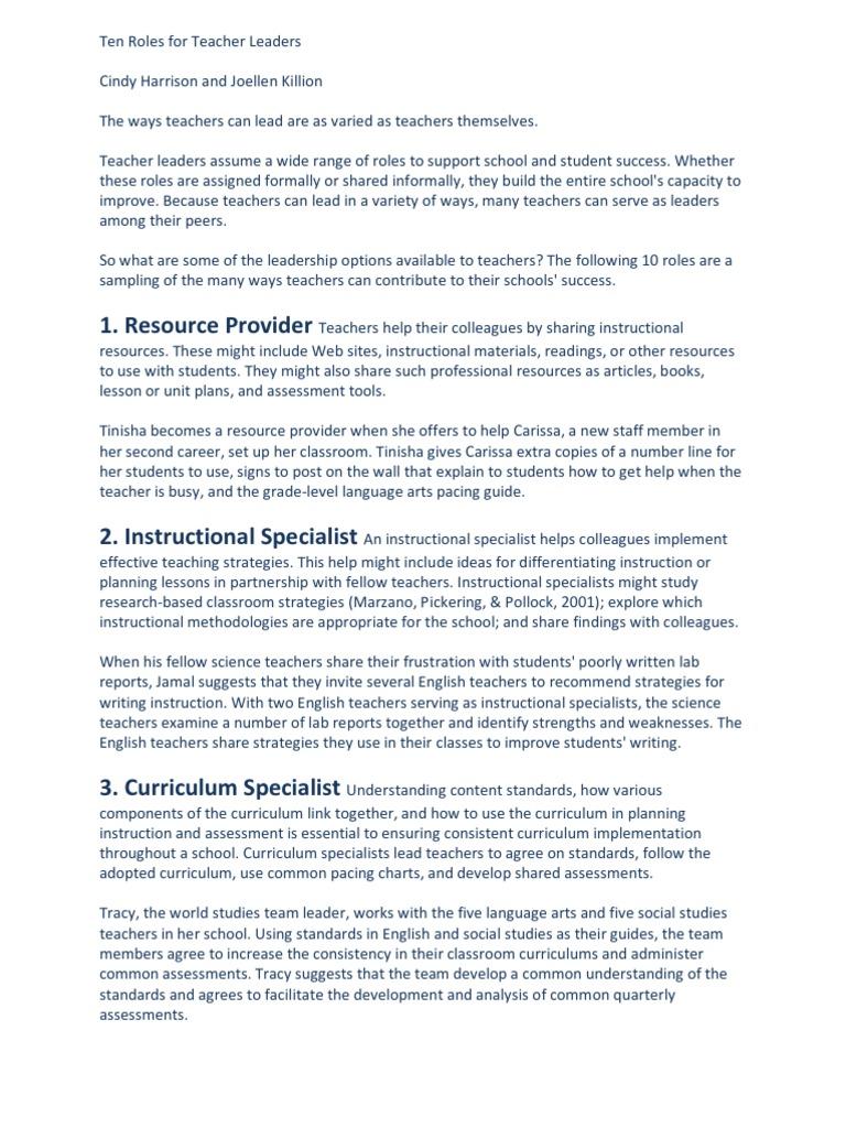 Ten Roles For Teacher Leaders Mentorship Teachers