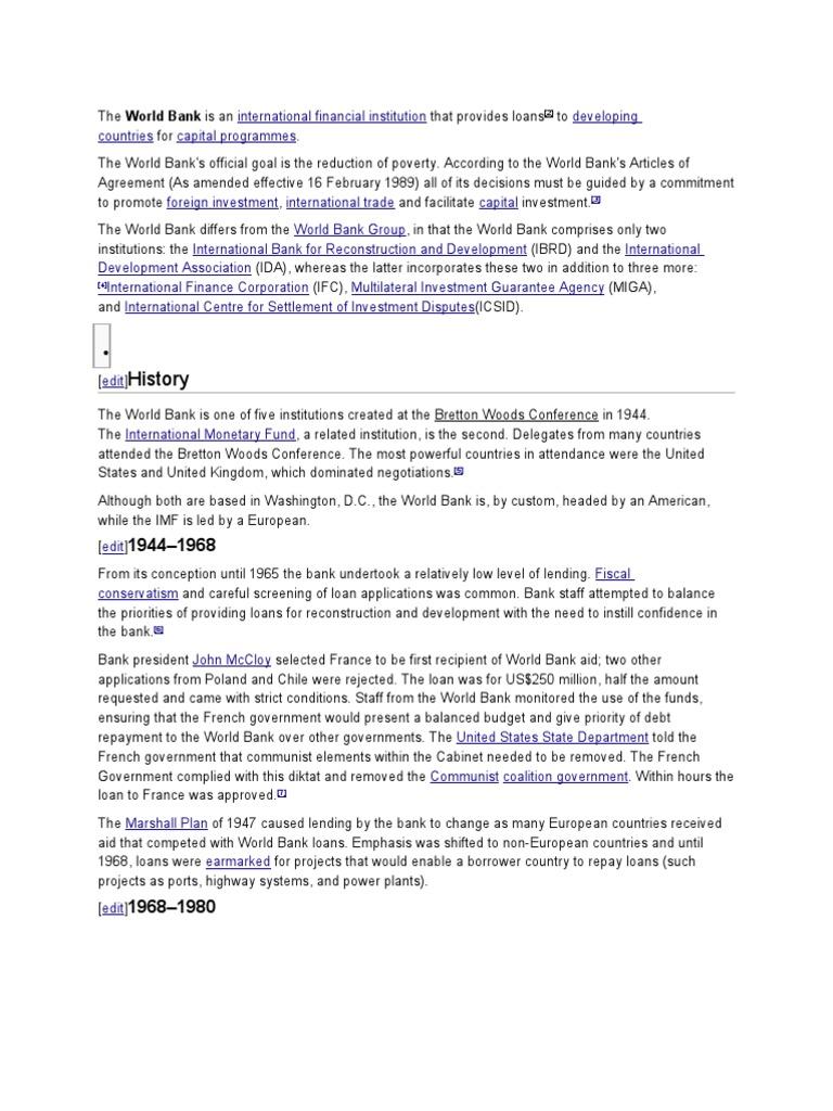 The World Bank And Its Critics World Bank Group World Bank