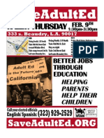 Save LAUSD Adult Ed English Spanish Rally Feb 9, 2012 1:30-3:30pm