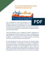 CARLOS LOBOS M, NUEVO SUBDIRECTOR DEL CNCA, DECLARACIÓN DE ANFUCULTURA