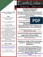 Earth Links. Feb. 6, 2012. Vol 10, Issue 20