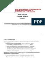 Manuel Lajo 17 de Enero 2012 Notas Sobre El Programa de Bioconocimiento Zona 7 Ecuador