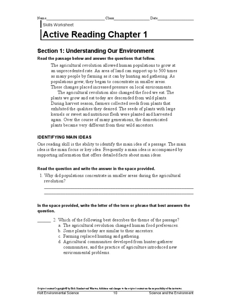 Holt environmental science worksheets pdf
