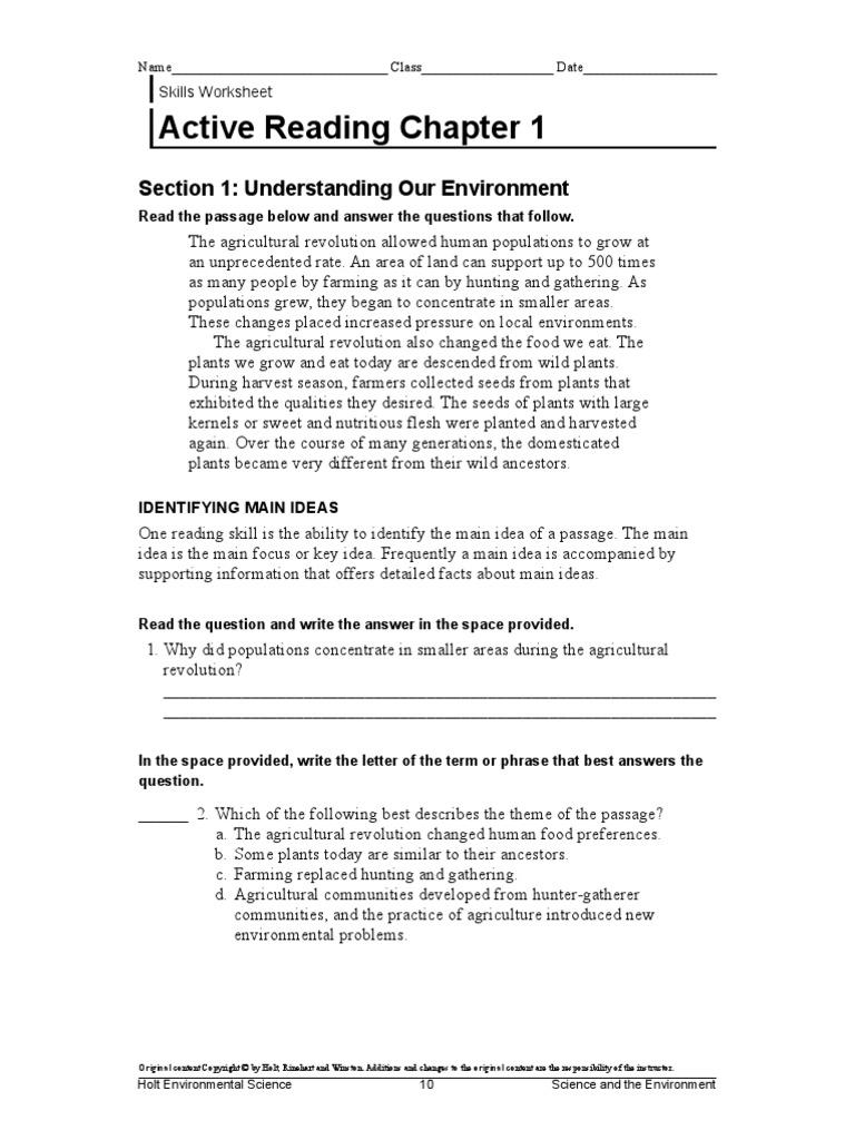 Worksheets Holt Environmental Science Worksheets agriculture handout hunter gatherer agriculture