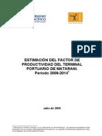 Estimación del Factor de productividad de TISUR 2009-2014
