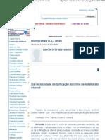 Da necessidade de tipificação do crime de estelionato praticado na internet - Monografias_TCC_Teses - Conteúdo Jurídico