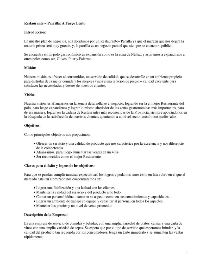 Ejemplo plan de negocios restaurante for Proyecto restaurante pdf