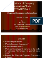 Corporate Governance Versus Satyam Scam- November 21, 2009