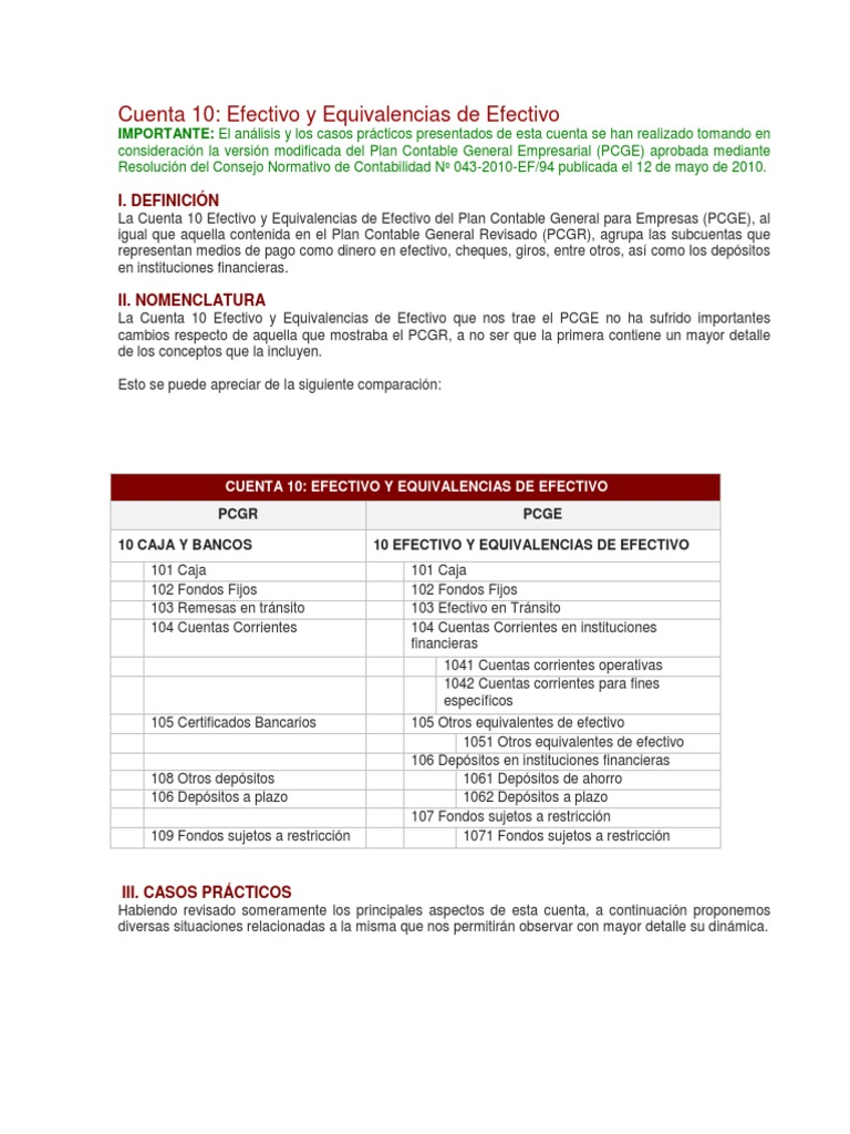 PCGE - CASOS PRACTICOS
