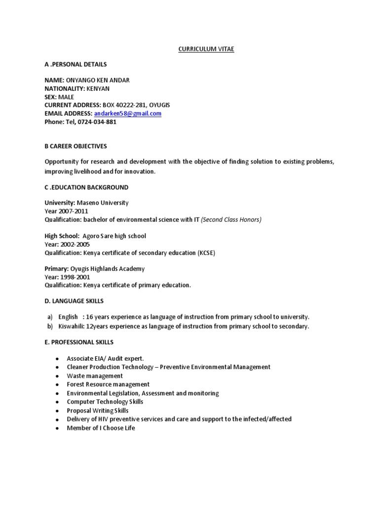 Curriculum Vitae Current | Environmental Resource Management | Kenya