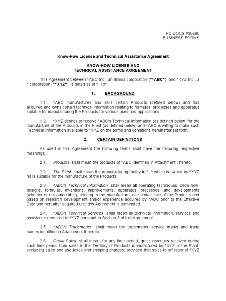 Know How License And Technical Assistance Agreement Know How