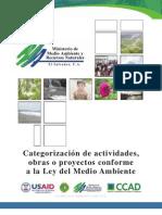 Categorizacion de Actividades Obras o Proyectos Conforme a La Ley Del Medio Ambiente