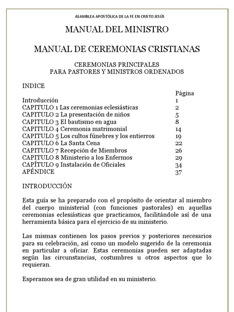 Ceremonia De Matrimonio Biblia Del Ministro : Manual del ministro
