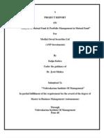 Analysis of Mutual Fund & Portfolio Management in Mutual Fund for Motilal Oswal Securities by Kalpa Kabra