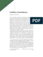 A Defense of Quasi Memory - Roache