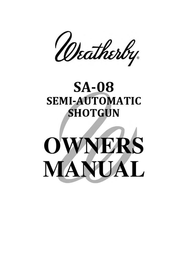 Weatherby SA-08 Semi-Automatic Shotgun Owners Manual