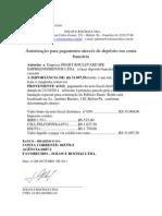 AUTORIZAÇÃO DE DEPÓSITO EM CONTA CORRENTE PROJETO FUNDAÇÃO  EMPREENDIMENTO SMART  NF 59-SOLOS E ROCHAS- PRIMEIRA PARCELA