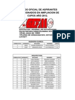 LISTADO OFICIAL DE ASPIRANTES SELECCIONADOS POR CARRERA EN AMPLIACION DE CUPOS AÑO 2012