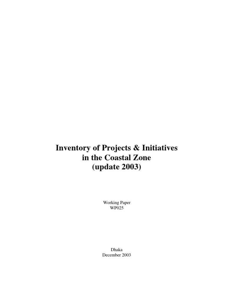Inventory of Projects & Initiatives in the Coastal Zone (Update 2003