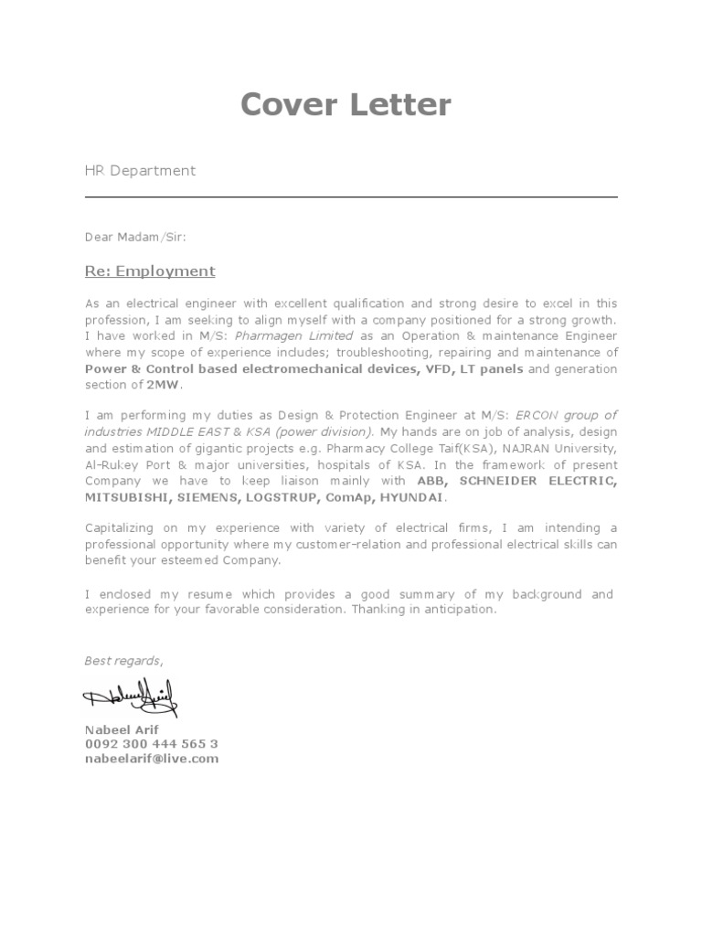 nabeel arif electrical engineer cover letter - Cover Letter To Hr Department