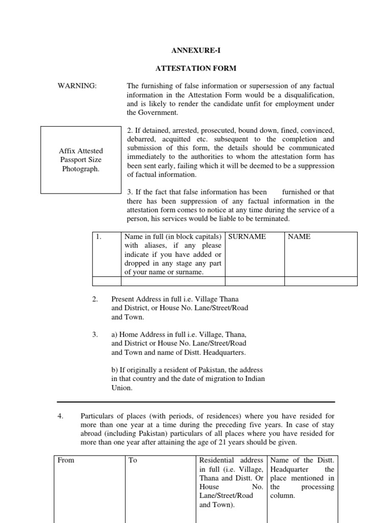 Attestation Form Format | Magistrate | Arrest