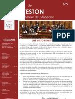 Lettre du Sénateur Michel Teston - Numero 9