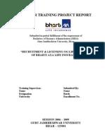 Report on Recruitment of Life Advisors Bharti AXA