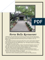 Porta Bella Restaurant Menu